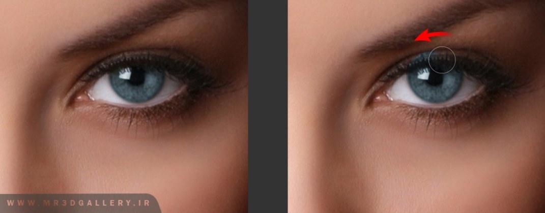 قسمت های رنگ شده دور چشم را پاک کنید